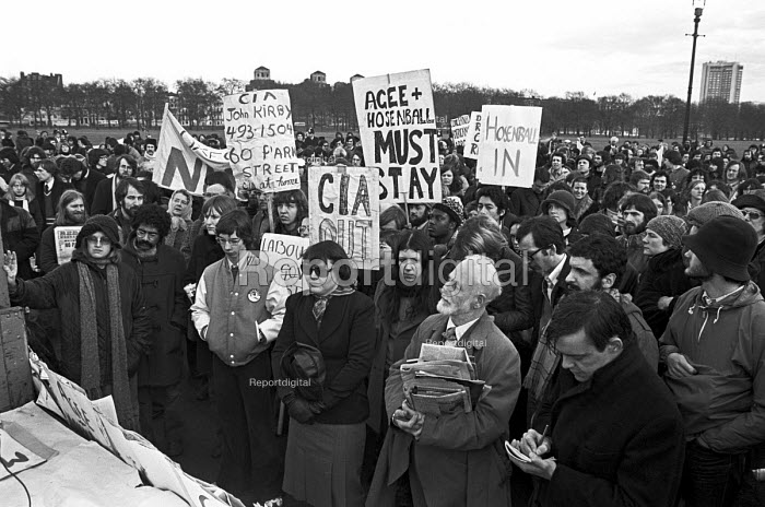 Protest at the proposed deportation of ex CIA agent Philip Agee and journalist Mark Hosenball for revealing state secrets, Hyde Park, London 1977 - NLA - 1977-01-09