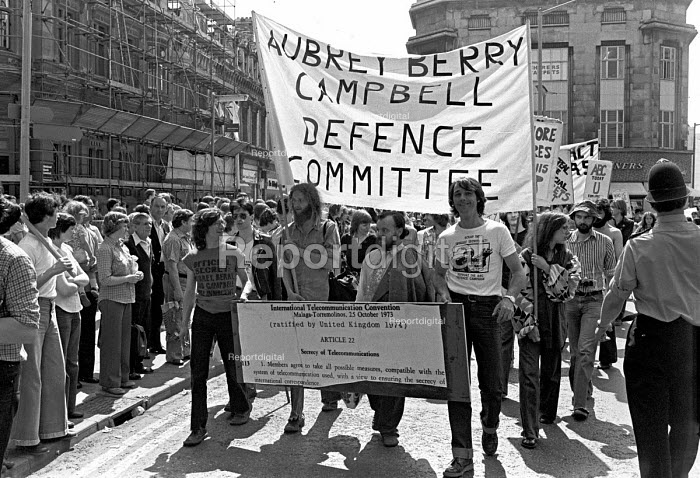 March through Cheltenham to the government listening centre GCHQ 1978 by the ABC campaign to demand the dropping of charges under the Official Secrets Act against Crispin Aubrey, John Berry and Duncan Campbell - NLA - 1978-05-27