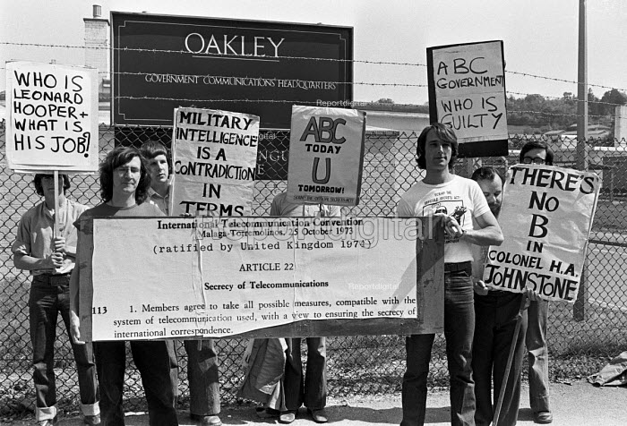 March through Cheltenham to the government listening centre GCHQ 1978 by the ABC campaign to demand the dropping of charges under the Official Secrets Act against Crispin Aubrey, John Berry and Duncan Campbell, the are at the fron. GCHQ Oakley - NLA - 1978-05-27