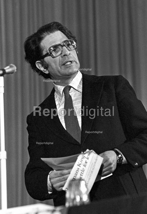 Ralph Miliband speaking at a meeting against the government deportation of Philip Agee former CIA operative who exposed state secrets, London - NLA - 1977-02-03
