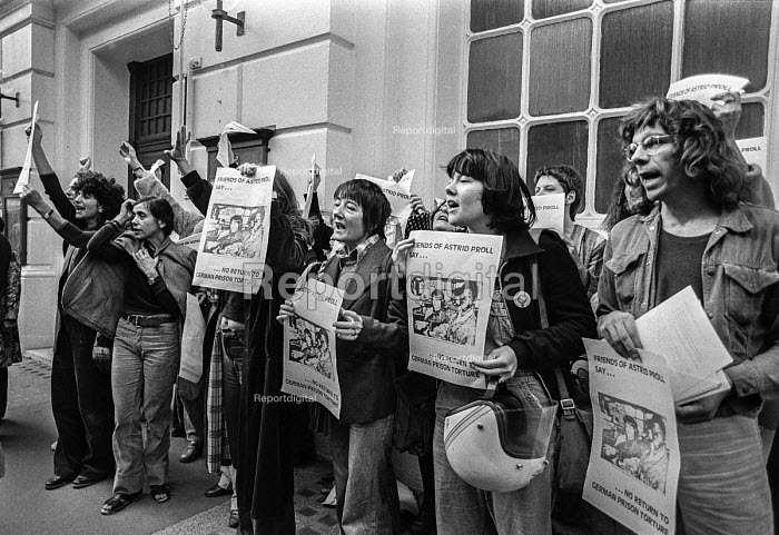 Protest at extradition of Astrid Proll 1978. Proll, a member of the Baader Meinhof group, who had escaped from Germany in 1971 and lived unnoticed in Britain until 1978 when Special Branch discovered her and she was extradited back to Germany - NLA - 1978-10-10