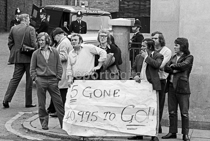 Dockers picketing Pentonville Jail where the Pentonville Five were imprisoned for illegal picketing and contempt of court. There were 41,000 dockers in 1972 and the threat of a general strike forced the Heath government to back down and the 5 were released - Peter Arkell - 1972-07-22