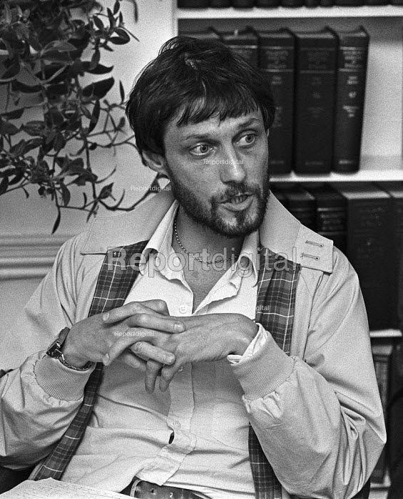 Director Roland Joffe, 1978 London press conference in protest at cuts to the BBC Play for Today 'The Legion Hall Bombing', which he directed, about the trial and conviction, purely on the basis of a contested confession, of 16-year-old Willie Gallagher for the bombing in Strabane, Northern Ireland in 1976 of a British Legion Hall - Peter Arkell - 1978-08-21