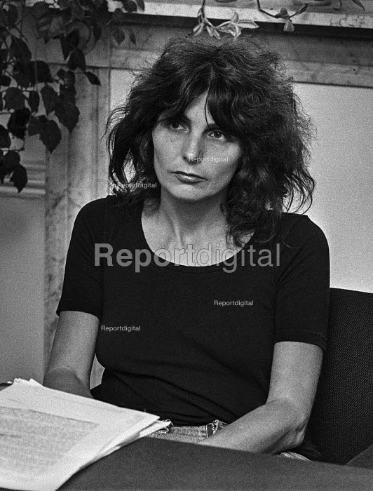 Writer Caryl Churchill 1978 London press conference in protest at cuts to the BBC Play for Today 'The Legion Hall Bombing', about the trial and conviction purely on a contested confession of 16-year-old Willie Gallagher for the bombing in 1976 of the British Legion hall in Strabane, Northern Ireland. Churchill turned transcripts of the trial into the script of the play. - Peter Arkell - 1978-08-21