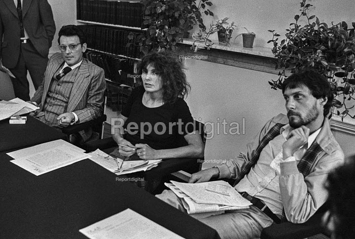 Director Roland Joffe (R) with Caryl Churchill and Brendan Gallagher 1978 London press conference in protest at cuts to the BBC Play for Today 'The Legion Hall Bombing', which he directed, about the trial and conviction, purely on the basis of a contested confession, of 16-year-old Willie Gallagher for the bombing in Strabane, Northern Ireland in 1976 of a British Legion Hall. Brendan Gallagher is the father of Willie - Peter Arkell - 1978-08-21