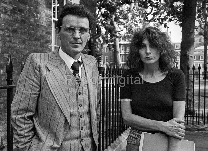 Writer Caryl Churchill with Brendan Gallagher 1978 London press conference in protest at cuts to the BBC Play for Today 'The Legion Hall Bombing'' about the trial and conviction purely on a contested confession of 16-year-old Willie Gallagher for the bombing in 1976 of the British Legion hall in Strabane, Northern Ireland. Churchill turned transcripts of the trial into the script of the play. Brendan Gallagher is Willie's father. He later went on hunger strike to protest at his son's imprisonment - Peter Arkell - 1978-08-21