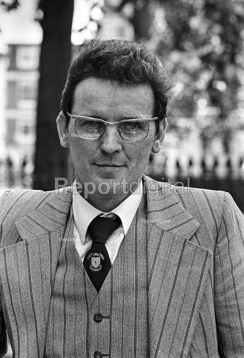 Brendan Gallagher 1978 London press conference in protest at cuts to the BBC Play for Today 'The Legion Hall Bombing' about the trial and conviction purely on a contested confession of 16-year-old Willie Gallagher for the bombing in 1976 of the British Legion hall in Strabane, Northern Ireland. Brendan Gallagher is Willie's father. He later went on hunger strike to protest at his son's imprisonment - Peter Arkell - 1978-08-21