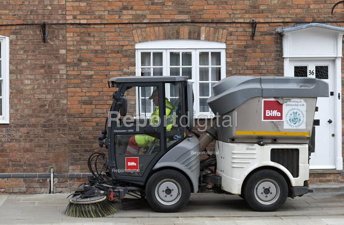 Biffa street cleaning vehicle sweeping the pavement, Stratford-upon-Avon, Warwickshire - John Harris - 2017-04-07