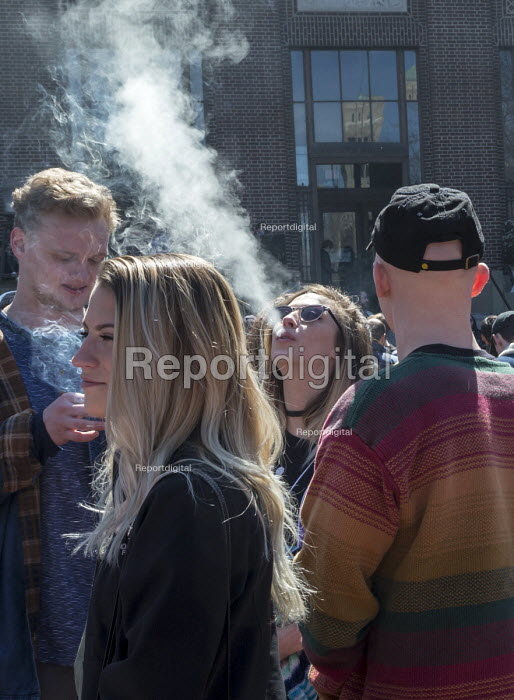 Ann Arbor, Michigan USA. Thousands attended the annual Hash Bash a 45-year tradition advocating the legalization of marijuana, University of Michigan - Jim West - 2017-04-01