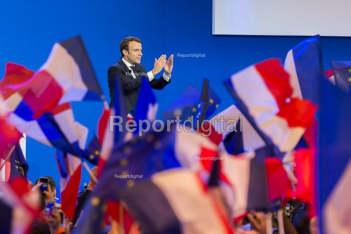Emmanuel Macron, presidential election candidate for En Marche! rally as he qualifies for the second round, Paris, France - Gilles Rolle - 2017-04-23