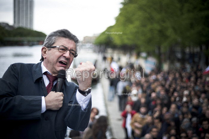 Jean Luc Melenchon, presidential election candidate for La France Insoumise, rally, Paris, France - Nicolas Messyasz - 2017-04-17