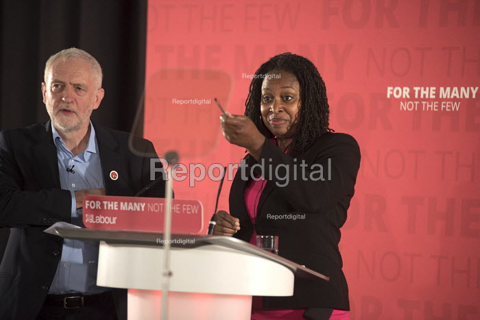 Dawn Butler MP and Jeremy Corbyn, Labour Party election press conference, Tower Hamlets, London - Philip Wolmuth - 2017-04-29