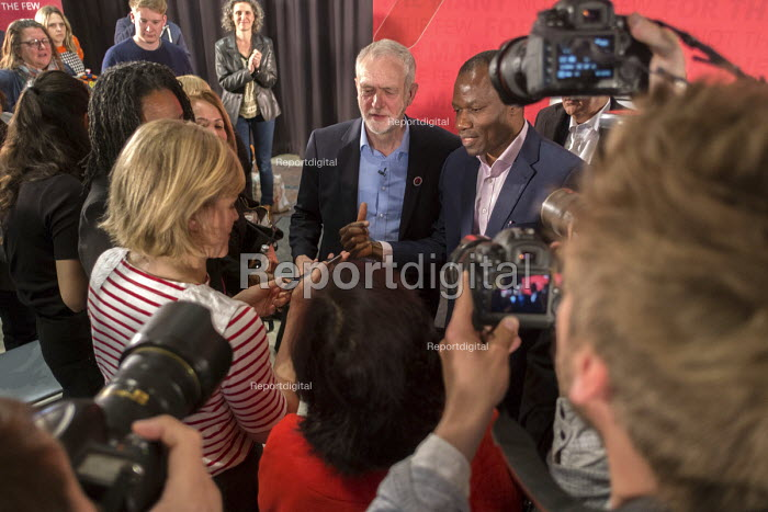 Jeremy Corbyn MP with supporters and press, Labour Party election press conference, Tower Hamlets, London - Philip Wolmuth - 2017-04-29