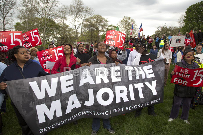 Detroit, Michigan USA May Day Rally for Immigrant Families. Young people fighting for a $15 minimum wage, Beyond The Moment - Jim West - 2017-05-01