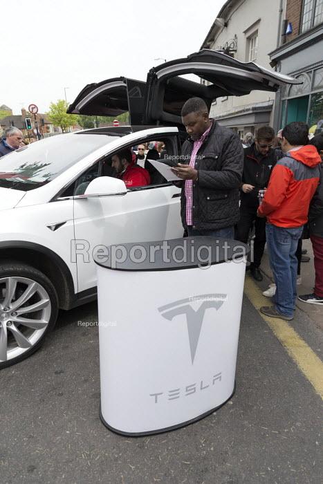 Tesla electric car trade stand Stratford Festival of Motoring, Warwickshire - John Harris - 2017-04-30
