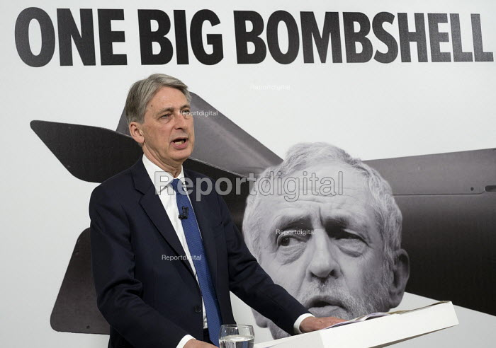 Philip Hammond speaking Conservative party general election press conference, Westminster, London - Philip Wolmuth - 2017-05-03