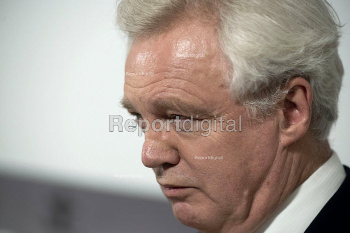 David Davis MP speaking Conservative Party general election campaign press conference, Westminster, London - Philip Wolmuth - 2017-05-03