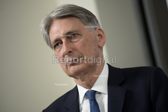 Philip Hammond speaking Conservative party general election press conference, Westminster, London election press conference, Westminster, London - Philip Wolmuth - 2017-05-03