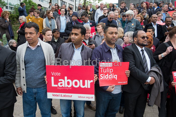 Tulip Siddiq supporters launching her general campaign for Hampstead and Kilburn,, the tenth most marginal Labour parliamentary seat in the UK. Swiss Cottage, London. - Philip Wolmuth - 2017-05-06
