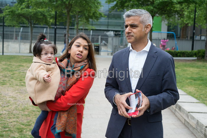 Tulip Siddiq with her daughter Azalea and London Mayor Sadiq Khan launching her general campaign for Hampstead and Kilburn,, the tenth most marginal Labour parliamentary seat in the UK. Swiss Cottage, London. - Philip Wolmuth - 2017-05-06