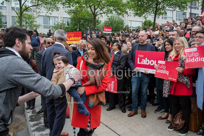 Tulip Siddiq with her daughter Azalea launching her general campaign for Hampstead and Kilburn,, the tenth most marginal Labour parliamentary seat in the UK. Swiss Cottage, London. - Philip Wolmuth - 2017-05-06