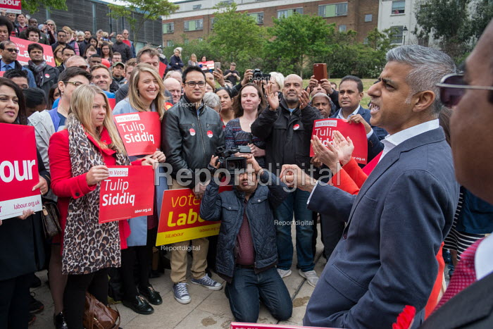 London Mayor Sadiq Khan. Tulip Siddiq launching her general campaign for Hampstead and Kilburn, the tenth most marginal Labour parliamentary seat in the UK. Swiss Cottage, London. - Philip Wolmuth - 2017-05-06