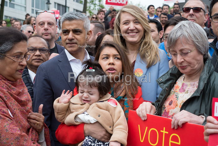 Tulip Siddiq, daughter Azalea, London Mayor Sadiq Khan and supporters launching her general campaign for Hampstead and Kilburn the tenth most marginal Labour parliamentary seat in the UK. Swiss Cottage, London. - Philip Wolmuth - 2017-05-06