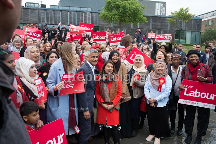Tulip Siddiq, London Mayor Sadiq Khan and women supporters launching her general campaign to retain Hampstead and Kilburn, the tenth most marginal Labour parliamentary seat in the UK. Swiss Cottage, London. - Philip Wolmuth - 2017-05-06