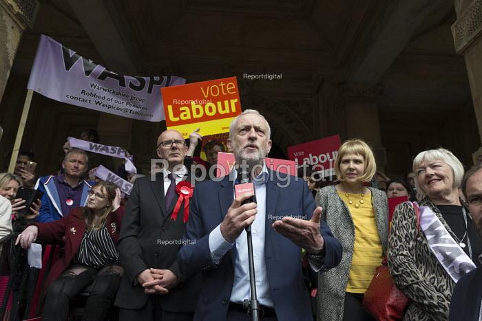 Jeremy Corbyn MP speaking general election campaign meeting Leamington Spa. PPC Matt Western (L) - John Harris - 2017-05-08