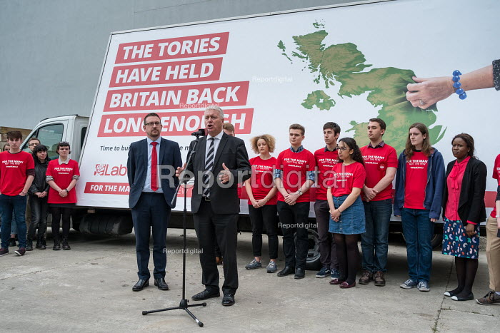 Ian Lavery MP standing in for Jeremy Corbyn, Labour Party general election campaign poster launch, London - Philip Wolmuth - 2017-05-11