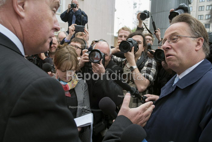 Michael Crick Political Correspondent for Channel 4 News, other journalists and photographers surrounding Ian Lavery MP, Labour Party general election campaign poster launch, London - Philip Wolmuth - 2017-05-11
