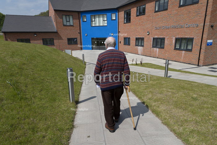 Pensioner visiting Health Practice for an appointment with a doctor, Telford - John Harris - 2017-05-11