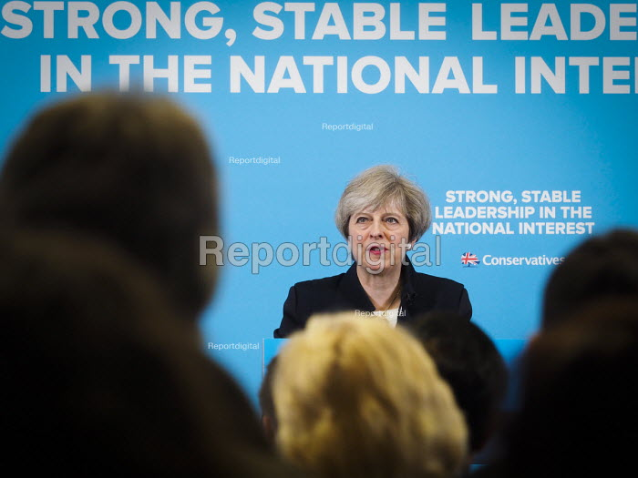 Theresa May Conservatives speaking to supporters, General election campaign, Linskill Centre, North Shields - Mark Pinder - 2017-05-12