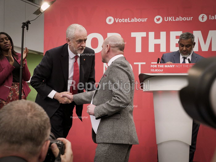 Jeremy Corbyn shaking hands with a supporter, Labour Party General Election 2017 manifesto launch, Bradford - Mark Pinder - 2017-05-16