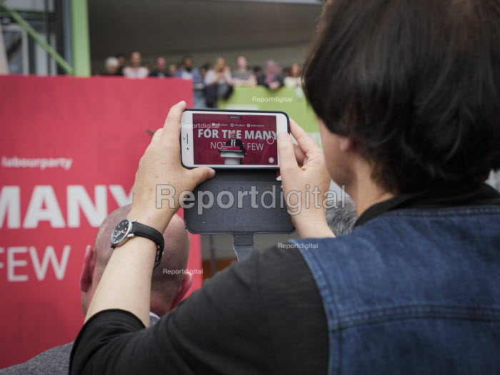 Filming Jeremy Corbyn using a mobile phone camera, Labour Party General Election 2017 manifesto launch, Bradford - Mark Pinder - 2017-05-16