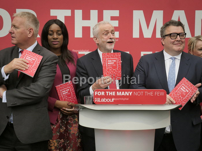 Jeremy Corbyn with members of the shadow cabinet, Jeremy Corbyn, Labour Party General Election 2017 manifesto launch, Bradford - Mark Pinder - 2017-05-16