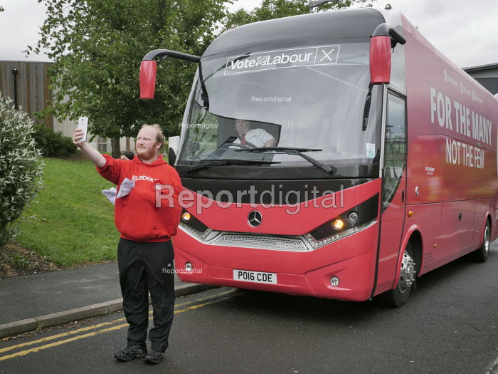 Young Labour supporter takes a selfie in front of the Labour Battle Bus. Jeremy Corbyn meeting supporters, Labour Party General Election 2017 manifesto launch, Bradford - Mark Pinder - 2017-05-16
