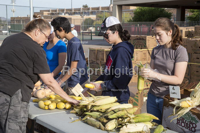 Tucson, Arizona, USA Student volunteers from a High School distributing produce provided by the Borderlands Food Bank. It distributes 30 to 40 million pounds of produce each year that would otherwise end up in landfill - Jim West - 2017-04-08