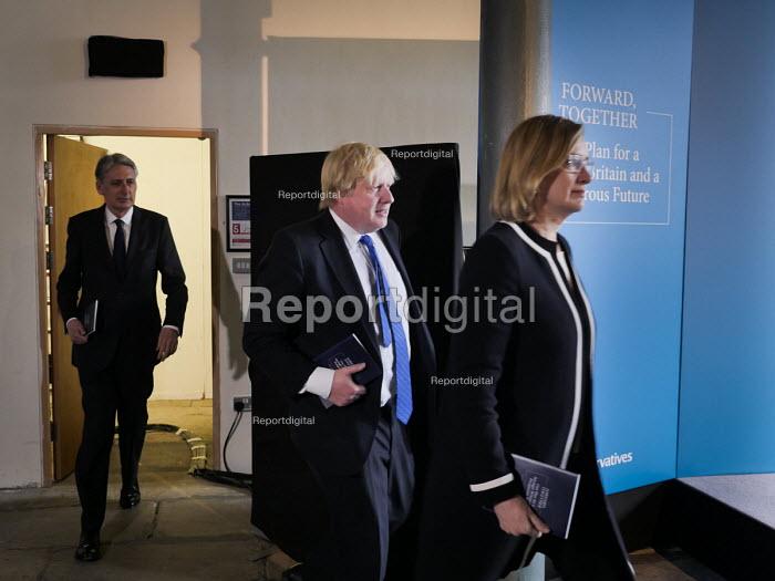 Philip Hammond, Boris Johnson and Amber Rudd, Conservatives manifesto launch, Dean Clough Mills, Halifax, Yorkshire, 2017 General Election campaign - Mark Pinder - 2017-05-18