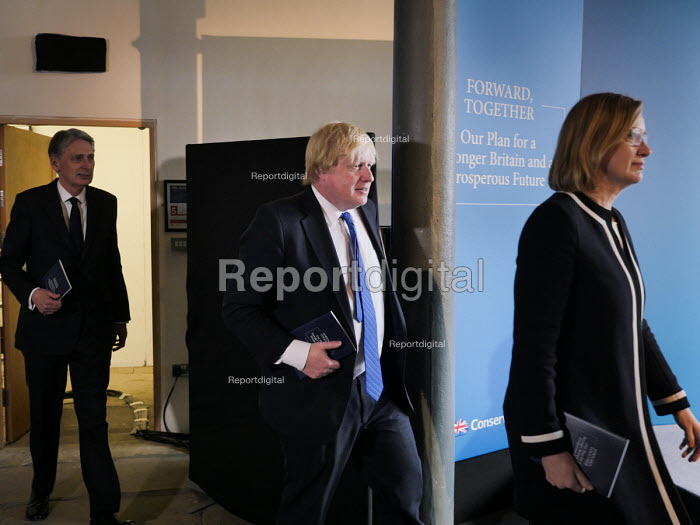 Philip Hammond, Boris Johnson and Amber Rudd, Conservatives manifesto launch, Dean Clough Mills, Halifax, Yorkshire, 2017 General Election campaign - Mark Pinder - 2017-05-18