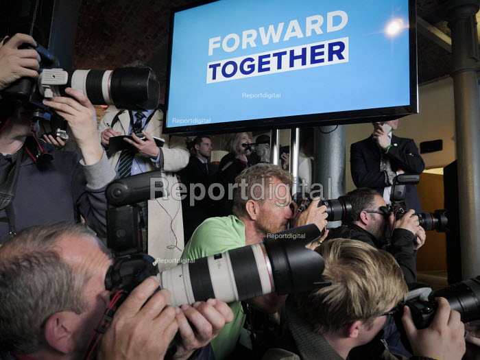 Press photographers, Theresa May speaking, Conservative Party manifesto launch, Dean Clough Mills, Halifax, Yorkshire, 2017 General Election campaign - Mark Pinder - 2017-05-18