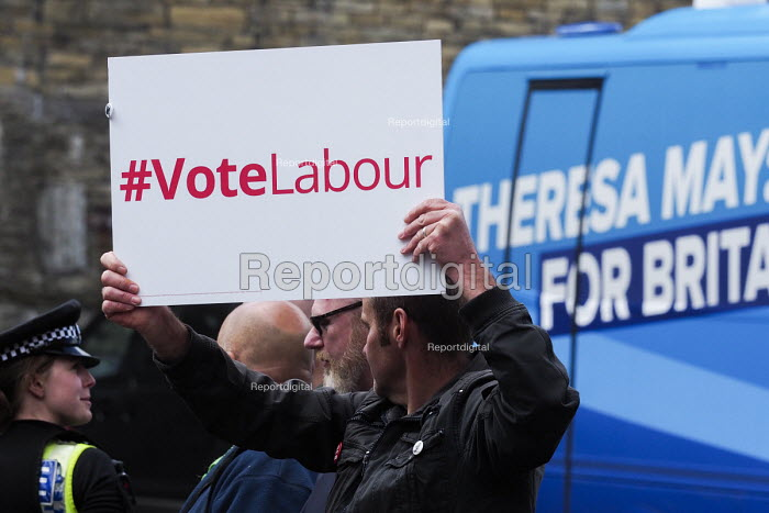 Anti Conservative Party protest outside Conservatives manifesto launch, Dean Clough Mills, Halifax, Yorkshire, 2017 General Election campaign - Mark Pinder - 2017-05-18