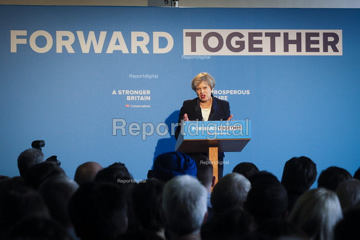 Theresa May speaking, Conservative Party manifesto launch, Dean Clough Mills, Halifax, Yorkshire, 2017 General Election campaign - Mark Pinder - 2017-05-18