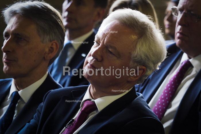 David Davis and Philip Hammond (L), Conservative Party manifesto launch, Dean Clough Mills, Halifax, Yorkshire, 2017 General Election campaign - Mark Pinder - 2017-05-18