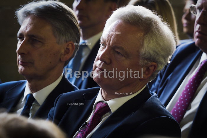 David Davis and Philip Hammond (L), Conservative Party manifesto launch, Dean Clough Mills, Halifax, Yorkshire, 2017 General Election campaign - Mark Pinder - 2017-05-18