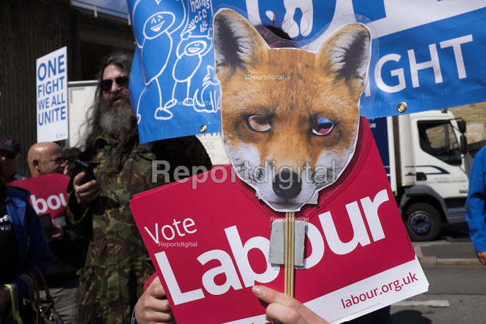 Anti Conservative Party protest outside Conservatives manifesto launch, Dean Clough Mills, Halifax, Yorkshire, 2017 General Election campaign - Mark Pinder - 2017-05-17