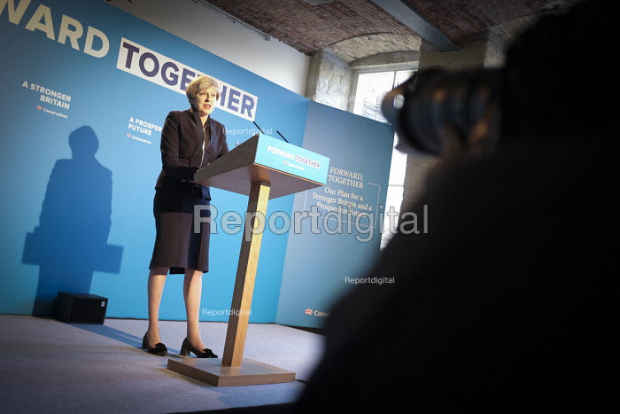 Theresa May speaking, Conservative Party manifesto launch, Dean Clough Mills, Halifax, Yorkshire, 2017 General Election campaign - Mark Pinder - 2017-05-17