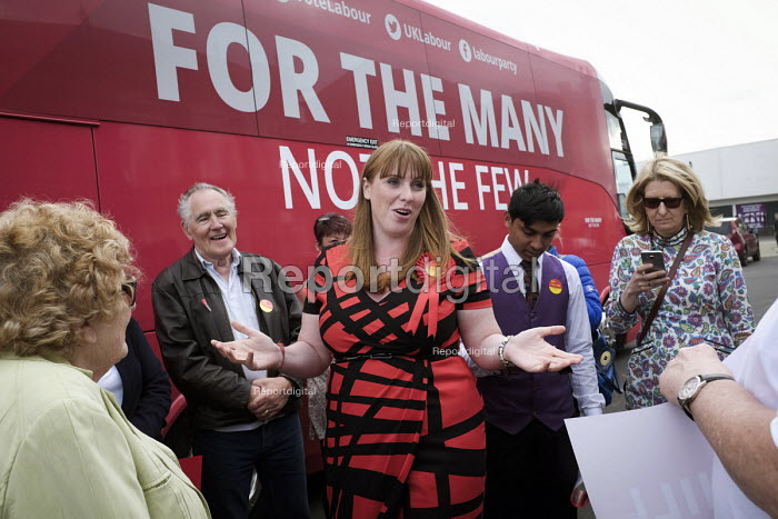 Angela Rayner MP campaigning in support of the Labour candidate Mike Hill, Hartlepool. For The Many, Not The Few campaign battle bus - Mark Pinder - 2017-05-28