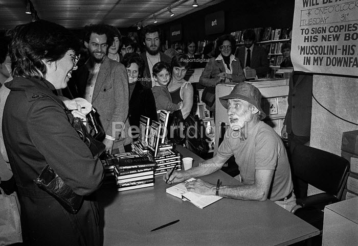 Spike Milligan book signing for his book Mussolini His Part in my Downfall, Foyles bookshop, London 1978 - NLA - 1978-10-31
