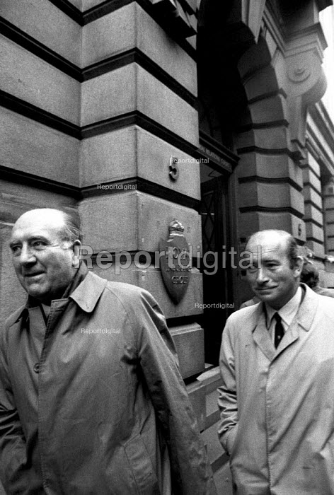 Bosses of Heatons Transport Ltd, Liverpool, leaving the National Industrial Relations Court, after getting a judgement against the TGWU, 1972. The union was fined 5,000 for contempt and then another 50,000 and warned that its assets were liable to be frozen because its members at the docks were stopping the movement of goods - Peter Arkell - 1972-04-12